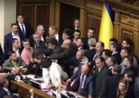Видео: Украинские депутаты передрались, обсуждая закон о Донбассе