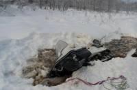 Под Хабаровском найдено тело одного из охотников, провалившихся под лед на снегоходе