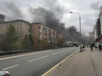 В Москве после ДТП в тоннеле загорелся автобус